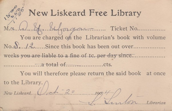 A rather stern-sounding notice about an overdue library book. It appears that Morgan was not fined for his oversight!