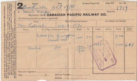This tissue thin document packs a weighty message. It's just a freight receipt. All rather banal and hardly worth keeping. Unless you know the subtext. Miss C Morgan took delivery of an office desk and supplies October 27, 1915. The goods were shipped from Morgan's office in New Liskeard to his sister Constance in Brockville. The same papers and letters that are with me, now.