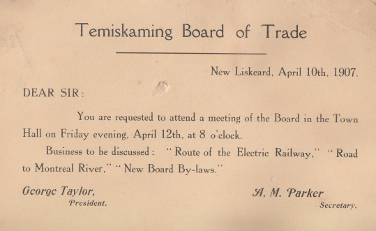 Among his many committee obligations, Morgan was part of the Temiskaming Board of Trade. For this April 1907 meeting the agenda included: Route of Electric Railway; Road to Montreal River; board by-laws.