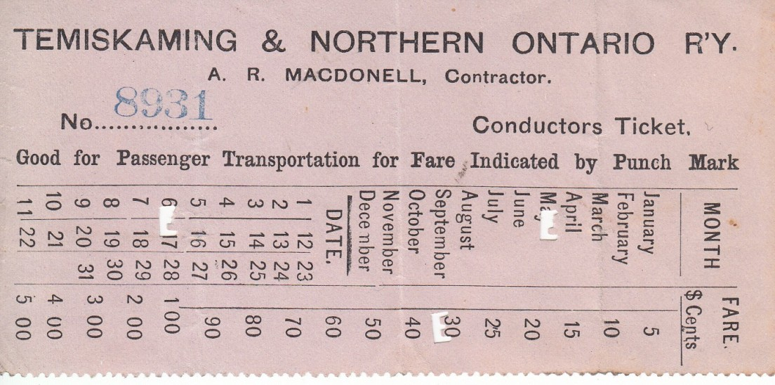 A passenger ticket ca 1905 Temiskaming & Northern Ontario R'Y